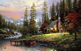 Mountain-Cabin-Painting-Wallpaper