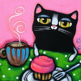 Cat with Coffee and Cupcake by Krista