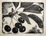 "Plants tumblr dogstardreaming Cherries ""Grace Albee"" Woodcut"