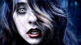 dark evil halloween scary spooky girl face hair