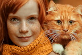 red hair girl with cat