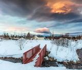 Colorful clouds over Húsavík Iceland