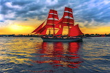 Sailing Sea Sunrises and sunsets Ships Red 527234 1280x853