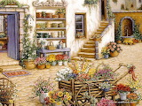 Welcome to My Garden Art Painting 03 court yard flowershop