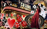 Casino chips, dice, cards and lady in red