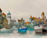 ^ Watercolor painting, harbour, boats, houses