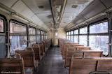 Wooden seating old railroad car