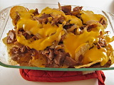^ Philly Cheesesteak Nachos