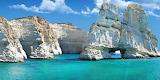 Milos-white cliffs and turquoise sea