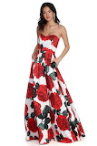 Rose Print Ball Gown