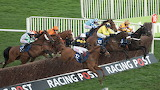 Tully East (yellow) and Denis O'Regan 2017 Novices' H'cap Chase