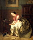 Young woman feeding a kitten ~ Jean Baptiste Antoine Emile Beran