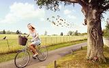 Girl, tree, honey, bees, wasps, bike, basket, field, bicycle, fe