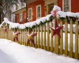 ^ Christmas decorated fence