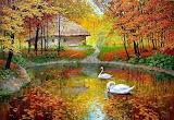 Forests-scherbakov-oil-canvas-autumn-swan-painting-pond-tree-art