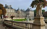 Trees, flowers, park, castle, France, statue, architecture, beau