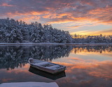Snowfall on lake