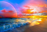 Pink-sunset-beach-with-rainbow-and-ocean-waves art