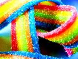 Rainbow color ribbons gummies