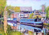 moored canal boats