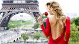 girl in a red dress in Paris
