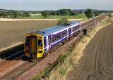 158 708 speeds past Linlithgow with the 1318 Newcraighall to Dun