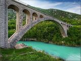 Beautiful Bridge over the Soca River in Slovenia