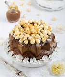 Bundt cake topped with salted caramel popcorn