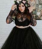 Black Two-Piece Wedding Gown