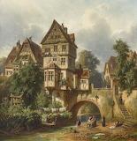 Waschtag an der Stadtmauer~ Christian Mali (German, 1832-1906)