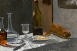 Still Life with Bottle, Carafe, Bread, & Wine