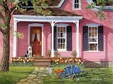 Casa con tulipani