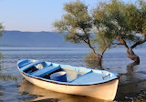 blue boat by a lake
