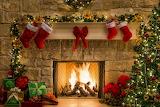Christmas, fireplace