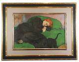 Władysław Ślewiński, Śpiąca kobieta z kotem, 1896