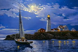 Light House At Night by Bob Ross