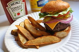 ^ Grilled Hamburger with French Fries