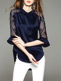 D.FANNI Blue 3/4 Sleeve Shirt Collar Tunic