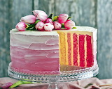 ^ Cake, multi layers, pink tulips