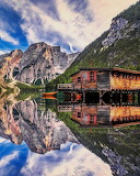 Lake Bries in the Dolomites of Italy