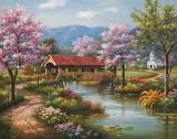 Covered Bridge in Spring, Sung Kim