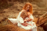Nature, children, basket, woman, hay, grass, mom, mother, pot, g
