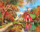 Colours-colorful-autumn-barn-painting-by-Dominic-Davison