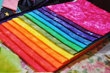 Rainbow of fabric swatches