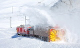 Train in the snow-Ospizio Bernina Alps Switzerland-David Gubler