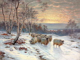 A shepherd with his flock in a winter landscape-Wright Baker