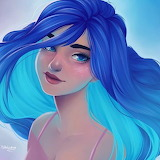 Girl with Shades of blue hair