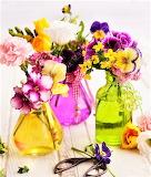 #Fresh Flowers In Glass Bottles