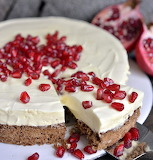 Chocolate mousse cake with pomegranate