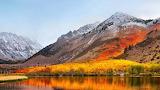 Mountains, snow, golden lake, forest, colorful foliage, autumn